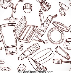Seamless pattern from doodles on cosmetics cream, eye shadow...