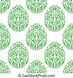 Seamless pattern from eggs with green floral ornament