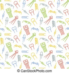 Seamless pattern from electrical components. Diode, transistor capacitor, resistor and inductor. Hand drawn vector illustration on white background