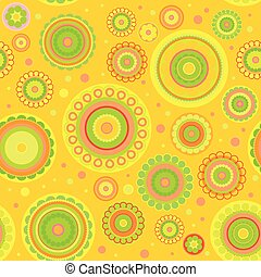 Seamless pattern from flowers and circles.