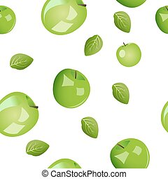 Seamless pattern from green apples with leaves. Vector illustration isolated on white background.
