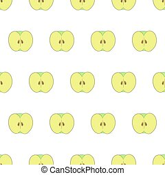 Seamless pattern from half cut apples on white background of vector illustrations