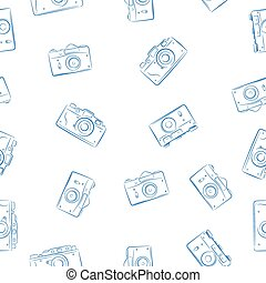 Seamless pattern from ink retro photocameras