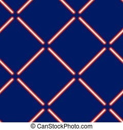 Seamless pattern from light neon red rays on a blue background vector illustration