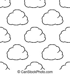 Seamless pattern from ?loud thought of black brush lines on white background of vector illustrations