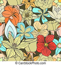 seamless pattern from many flowers - Beautiful summer ornate...