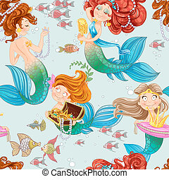 Seamless pattern from mermaid girls with treasures