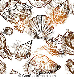 Seamless pattern from of different shapes shell  sketches