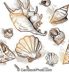 Seamless pattern from of different shapes shell  sketches 1