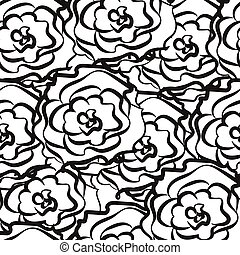 seamless pattern from outlines of roses
