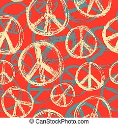 Seamless pattern from Peace sign. Hippie symbol of peace