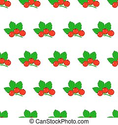 Seamless pattern from red currant with leaves on white background of vector illustrations