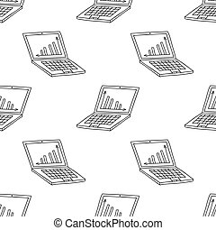 Seamless pattern from simple hand drawn doodle laptop with graph on desktop. Isolated on white background. Vector stock illustration.