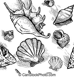Seamless pattern from sketches of different shapes shell 1