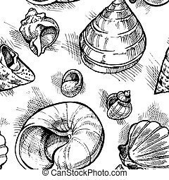 Seamless pattern from sketches of different shapes shell 2