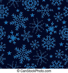Seamless pattern from snowflakes on deep blue background