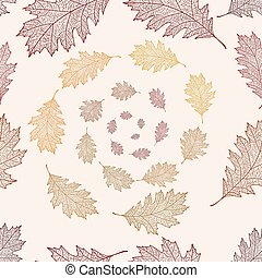 Seamless pattern from the leaves of red oak arranged in a...