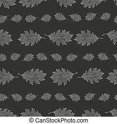 Seamless pattern from the snowy leaves of red oak arranged...