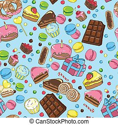 Seamless pattern from various sweets on blue background