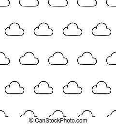 Seamless pattern from white cloud on white background of vector illustrations