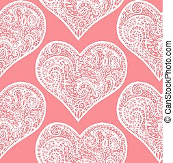 seamless pattern from white hand drawing hearts on pink background