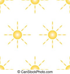 Seamless pattern from yellow sun and eight rays on white background of vector illustrations