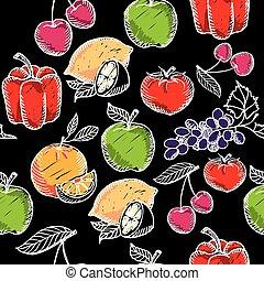 Seamless pattern fruit, chalkboard.