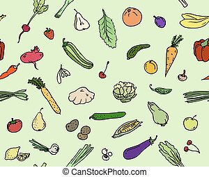 Seamless pattern Fruits and vegetables Sketch set