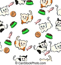 seamless pattern funny cat cartoon pet, kitty, kitten, doodle, with white background