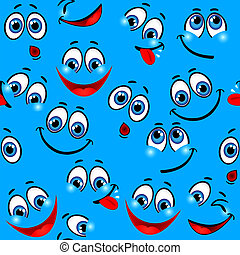 Seamless pattern - funny faces