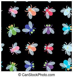 Seamless pattern Funny fly colorful red green blue violet pink with transparent wings on black background. Vector