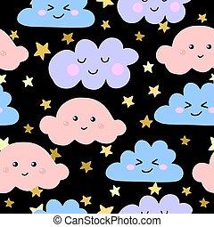 Seamless pattern funny kawaii cloud on the rainbow. Vector illustration