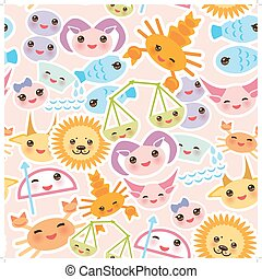 Seamless pattern Funny Kawaii zodiac sign, astrological stiker set  virgo, aries, gemini, cancer, aquarius, taurus, leo, libra, sagittarius,  fish, capricorn, scorpio. Vector