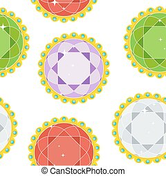 seamless pattern gems round
