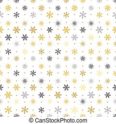 seamless pattern gold, silver snowflakes with dots on white background, Winter background.