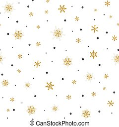 seamless pattern gold snowflakes with dots on white background, Winter background.