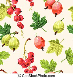 Seamless pattern goose berries and currant berries -...