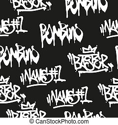 Seamless pattern graffiti - Vector tags seamless pattern....