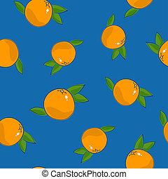 Seamless Pattern , Grapefruit on Blue Background