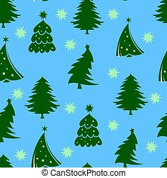 Seamless pattern, green christmas tree, on a blue background with snowflakes,