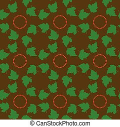 Seamless pattern, green leaves in a circle, textural fractal...