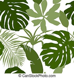 Seamless pattern, green tropical leaves