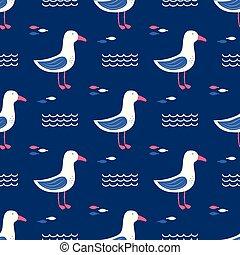 seamless pattern gull - seamless pattern with beautiful...