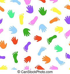 Seamless pattern hand and foot colorful prints.