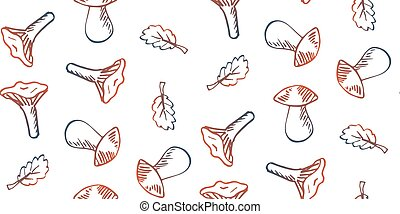 Seamless pattern hand drawn doodle mushrooms on white background.