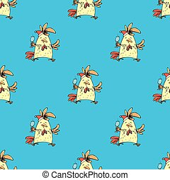 seamless pattern hand drawn funny rooster on  blue background