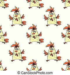 seamless pattern hand drawn funny rooster on  white background,