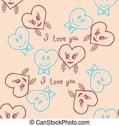 Seamless pattern. Hand-drawn hearts