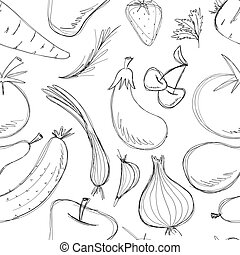 Seamless Pattern Hand Drawn Vegetables and Fruits Set. Collection of food sketch. Vector illustration isolated on white. Freehand drawing fruits and vegetables. Black white set healthy food