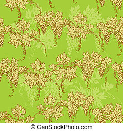 Seamless pattern - hand drawn wine grapes background
